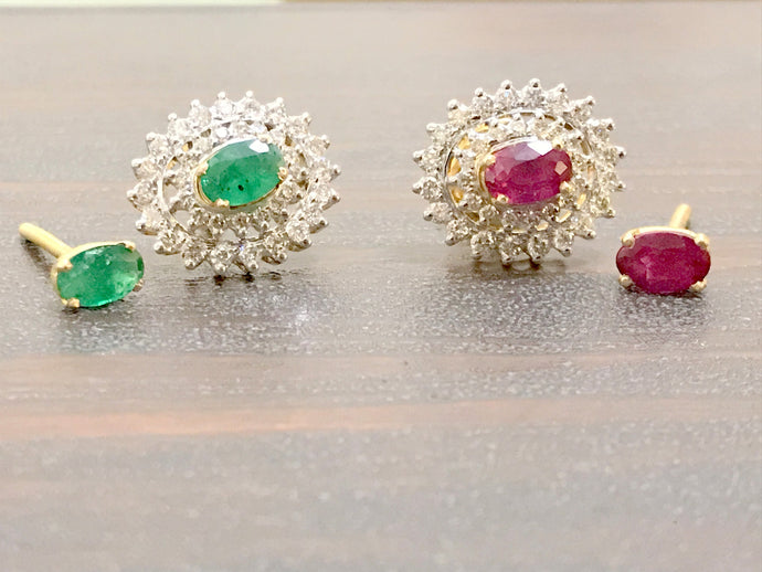RUBY EMERALD DIAMONDS Changeable Stud Earrings ,stud earrings,gift for her,Wedding Jewelry