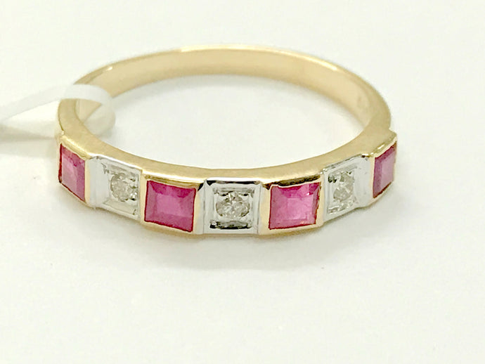 RUBY DIAMOND ETERNITY Band in 14K Gold , Red Ruby Square, Engagement Ring , July birthstone , Best Gift for Loved ones.....