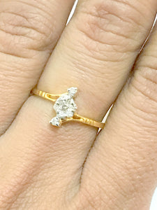 HALO DIAMOND RINGS /14k Solid Yellow Gold / 0.25 ct wt ,Wedding & Engagement rings , Promise ring for her , Valentines Love gift ...