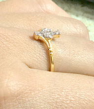 Load image into Gallery viewer, HALO DIAMOND RINGS /14k Solid Yellow Gold / 0.25 ct wt ,Wedding & Engagement rings , Promise ring for her , Valentines Love gift ...
