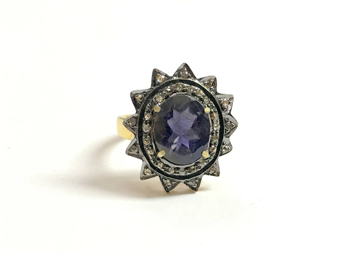 IOLITE DIAMONDS ANTIQUE ring in 925 sterling silver , star shape pave setting diamond , wedding ring , iolite gemstone , gift for her.......