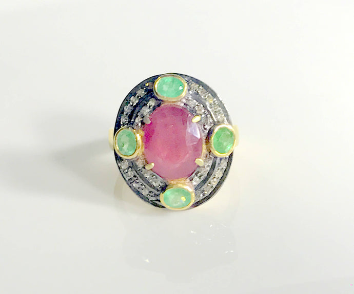 RUBY EMERALD DIAMONDS ring ,Antique silver ring,Diamonds vintage ring,Rose cut diamond ring,antique jewelry,Vintage wedding band