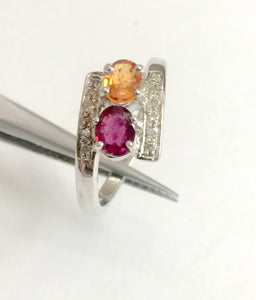 MULTI SAPPHIRES DIAMONDS 925 sterling silver ring,Multi stone Rings,reddish oranges sapphire ring for love and friendships,Christmas Gifts