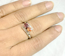 Load image into Gallery viewer, MULTI SAPPHIRES DIAMONDS 925 sterling silver ring,Multi stone Rings,reddish oranges sapphire ring for love and friendships,Christmas Gifts