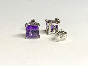 PRINCESS CUT AMETHYST , Stud Earrings ,925 sterling silver,February birthstone ,lovely gift for her, Valentine's day Gift.....
