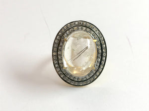 RUTILE QUARTZ CABOCHON Antique Rose cut diamonds Cluster ring ,925 sterling silver,perfect for evening wear as on Christmas Parties.....