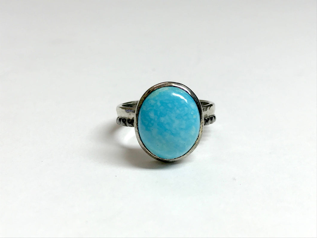 NATURAL ARIZONA TURQUOISE ,Men ring , 925 sterling silver, Cabochon Gemstone , Blue Turquoise Men Ring In Rustic Look , fathers day gift