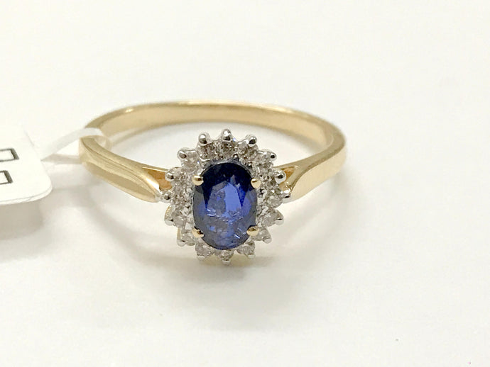 BLUE SAPPHIRE DIAMOND Halo Ring ,September Birthstone, Engagement ring ,Eternity Ring