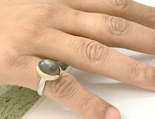 Load image into Gallery viewer, BLACK MOONSTONE MEN RING ,Matte Finish Texture Unisex Ring, Men's Jewelry.