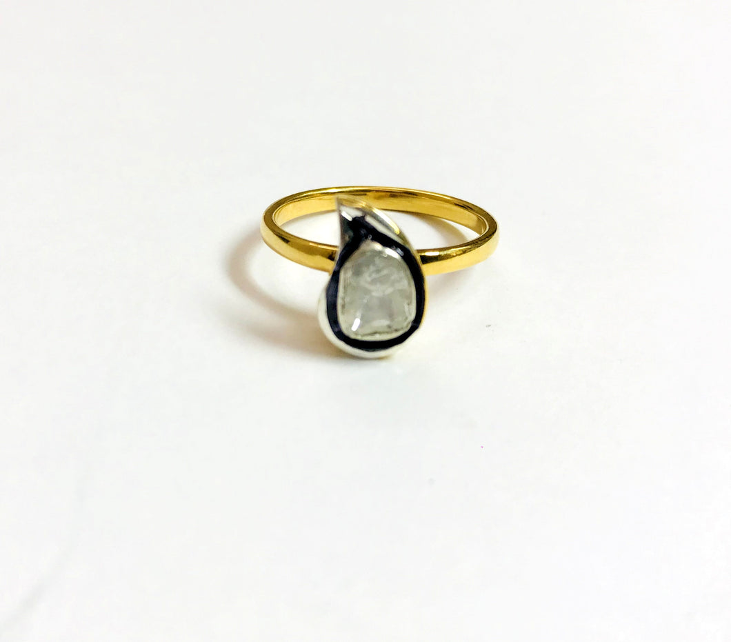 SLICE CUT DIAMONDS ,925 Sterling silver Ring ,Mango shape Engagement Ring ,Vintage Wedding Band ,Valentine gift , April Birthstone.....