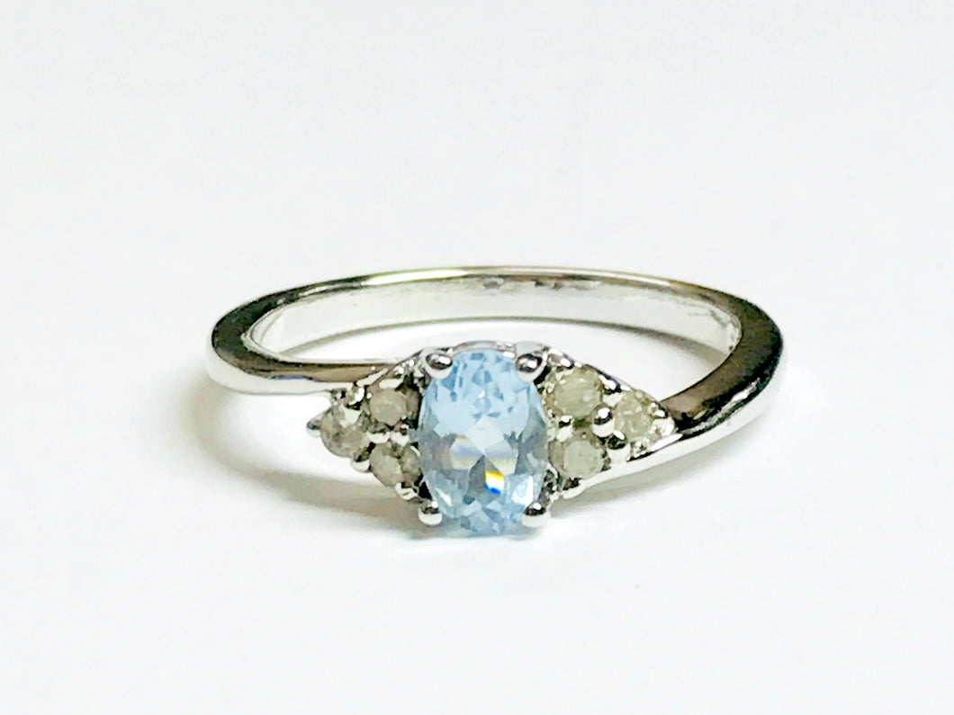 DAINTY AQUAMARINE DIAMOND 925 sterling silver ring ,March Birthstone,Blue Gemstone Ring,Promise Ring for Her,Lovely gift for Loved ones ....