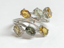 Load image into Gallery viewer, GREEN YELLOW TOURMALINE , Multi gemstone Ring , lovely Gift for Mothers , Cocktail ring ........