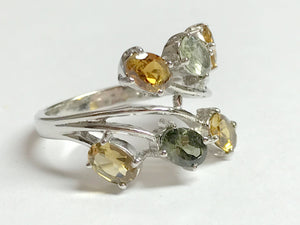 GREEN YELLOW TOURMALINE , Multi gemstone Ring , lovely Gift for Mothers , Cocktail ring ........