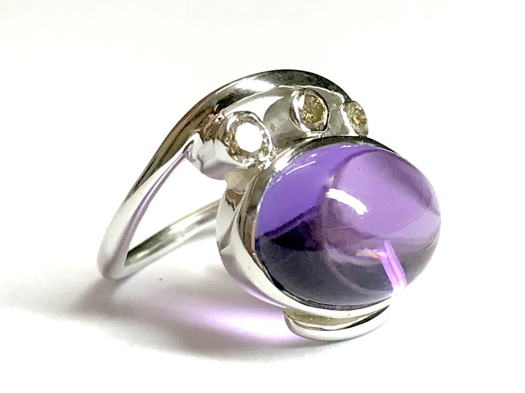 CABOCHON AMETHYST DIAMONDS Ring-925 sterling silver,February stone ,Engagement-Wedding gift
