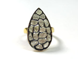 ROSE CUT DIAMONDS-925 Sterling silver Ring,April birthstone,Diamond Cluster ,Tear Drop Shape.