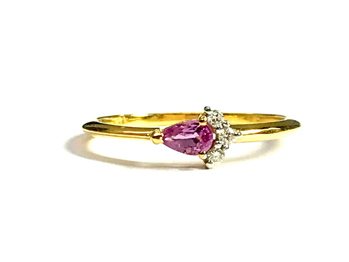 PINK SAPPHIRE Diamond Ring , October Birthstone , Engagement ring,Leaf Pattern , 14k Gold Ring ,Diana Ring , beautiful gift for her
