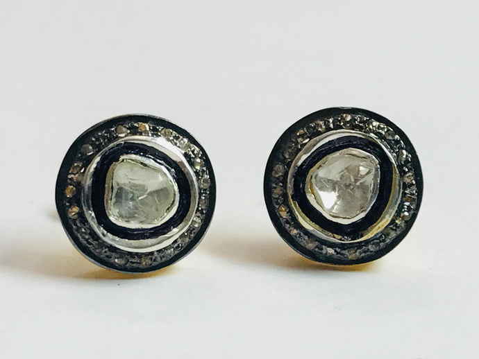 VINTAGE DIAMONDS STUDS EARRINGS, Rose Cut Diamonds,Handmade jewelry,Pave Diamonds.