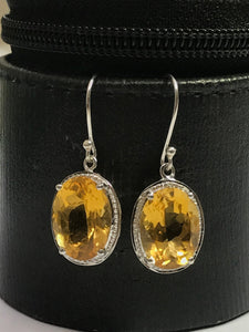 CITRINE TOPAZ DANGLE Hoop earrings,Sterling silver Ear Wire Earring,November birthstone,Yellow earrings,gift for loved ones,Hand Forged