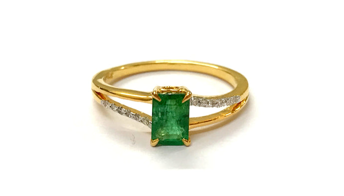 DAINTY EMERALD DIAMOND ENGAGEMENT 14K Gold Ring,May Birthstone ,Stackable Ring ,Emerald cut Octagon
