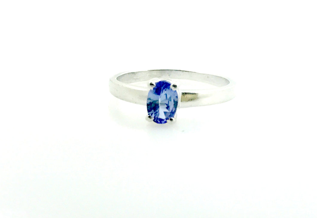 Natural Tanzanite Unique Engagement Rings, 0.7ct blue tanzanite ring, solitare engagement ring,Oval Cut tanzanite , Valentine Gift