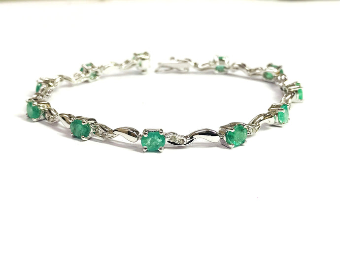EMERALD DIAMOND BRACELET , 7.5 inches, 925 sterling silver , May Birthstone ,Wedding Collection , Bridal Gift, Women  Bracelets , .......
