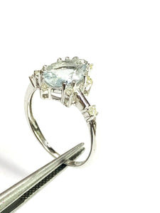 AQUAMARINE DIAMOND ENGAGEMENT Ring , Pear Or Tear Drop Shape Natural Aquamarine ,March Birthstone, Christmas Gift, Promise Ring for Her