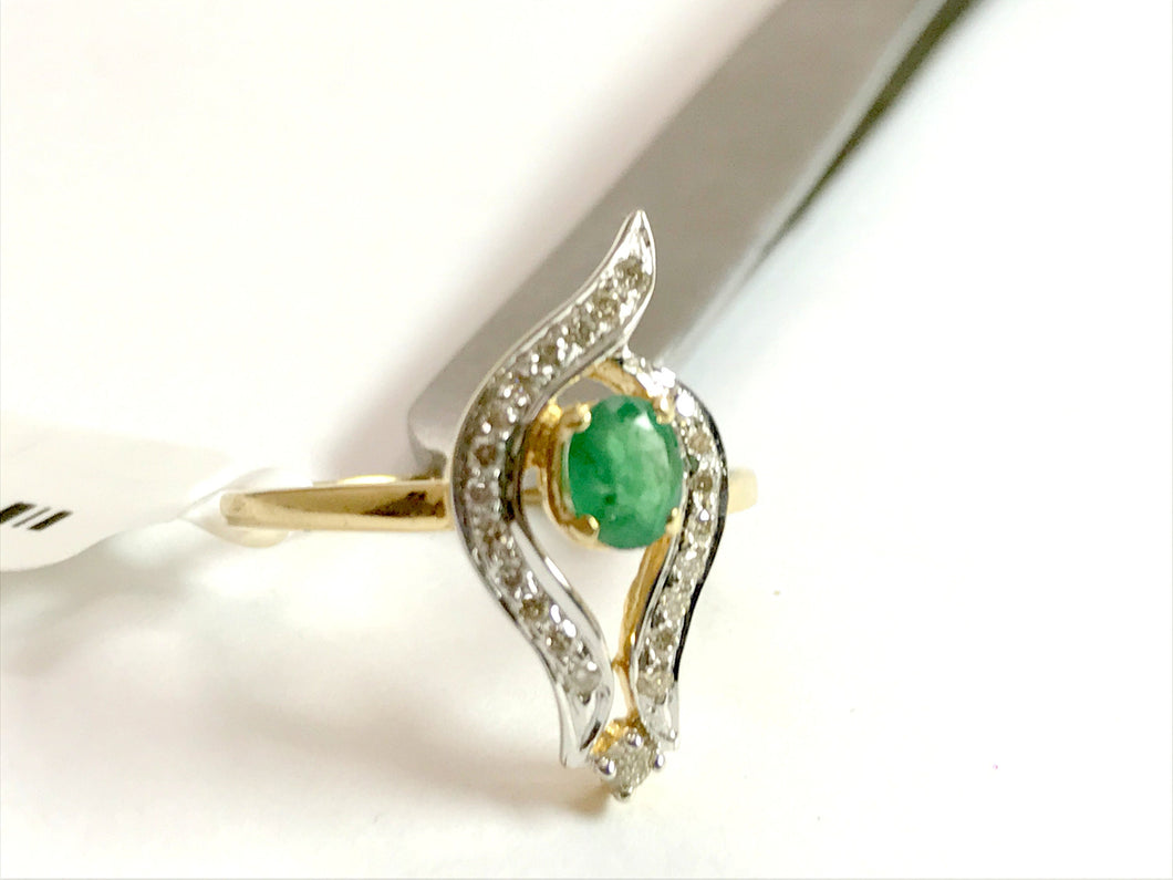 EMERALD DIAMOND DESIGNER 14K Gold Ring, Leaf Pattern ,May Birthstone,Engagement Ring ,Wedding Gift ,Promise ring for her ...