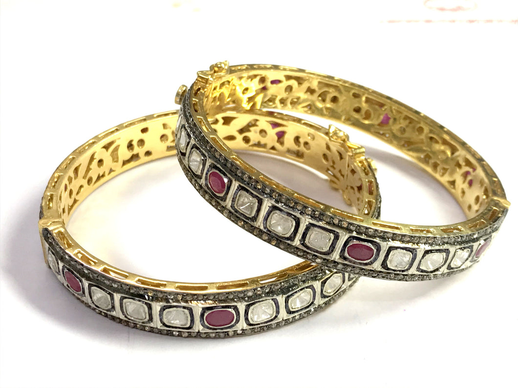1 Pc ROSECUT RUBY DIAMONDS-bezel set Bangle-925 Sterling Silver -antique diamonds Bangle-Vintage jewelry
