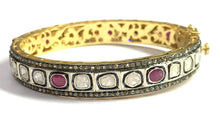 Load image into Gallery viewer, 1 Pc ROSECUT RUBY DIAMONDS-bezel set Bangle-925 Sterling Silver -antique diamonds Bangle-Vintage jewelry