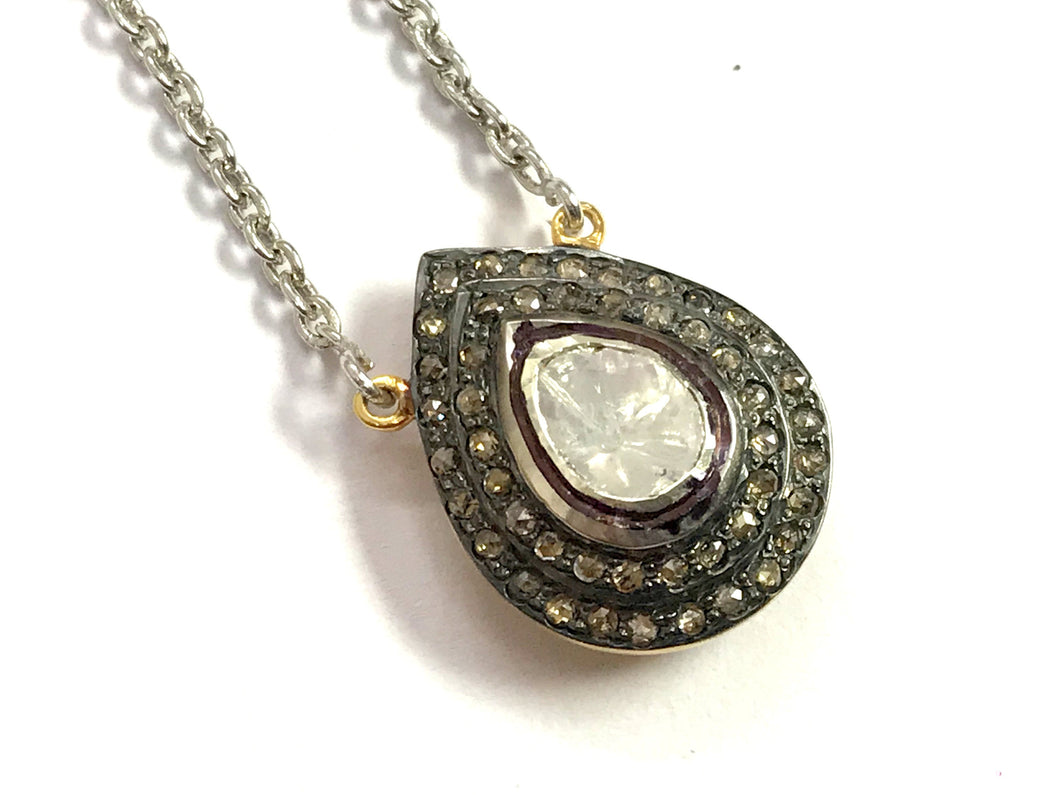 ROSE CUT DIAMONDS Necklace Pendant  in sterling silver 925 with ,diamond dangle pendant ,Tear Drop pendulum , diamond antique pendant