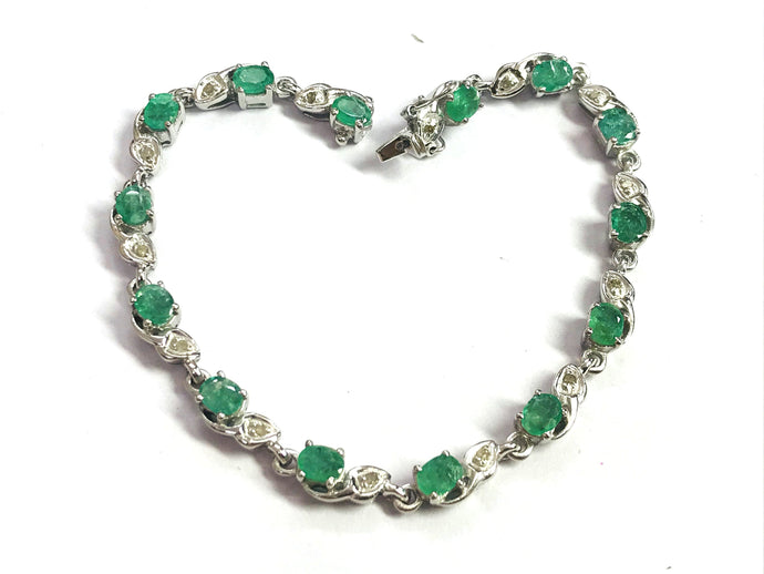 7.5 inches EMERALD DIAMOND BRACELET,925 sterling silver , Wedding Collection ,Women Bracelet,Christmas gift