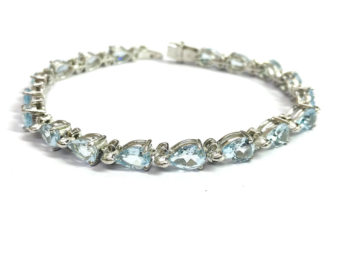 7.5 inches BLUE TOPAZ DIAMOND Bracelets,925 sterling silver,December Birthstone,Wedding Collection,Bridal ,Women Bracelets,Christmas gift