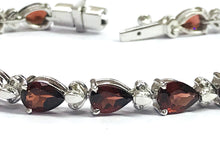 Load image into Gallery viewer, 7.5 inches RED GARNET DIAMONDS Bracelets , 925 sterling silver,Pear shape ,Natural Garnet,Christmas gift ,Bridal Gift,Women Bracelets