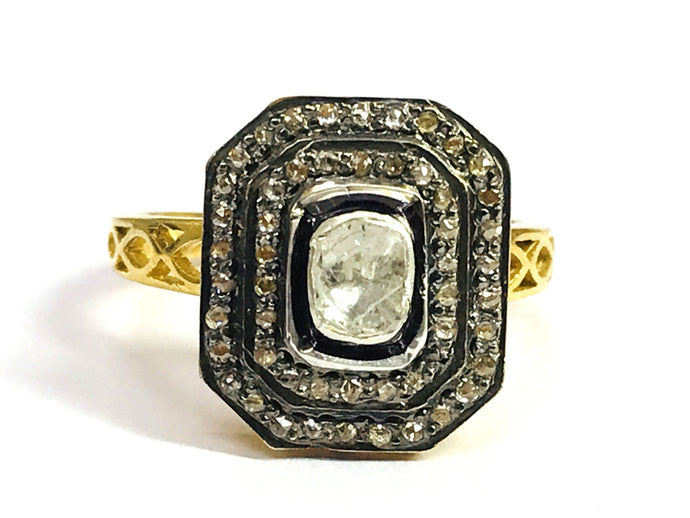 ROSE CUT DIAMONDS, Antique Victorian Ring, sterling silver , Vermeil - Polki Ring ,Pave Diamonds ,Cocktail Rings ...