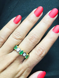 EMERALD RING,Rose Cut Diamonds ,May birthstone ,emerald engagement ring,925 Silver emerald ring, antique emerald ring ,Valentine Gift