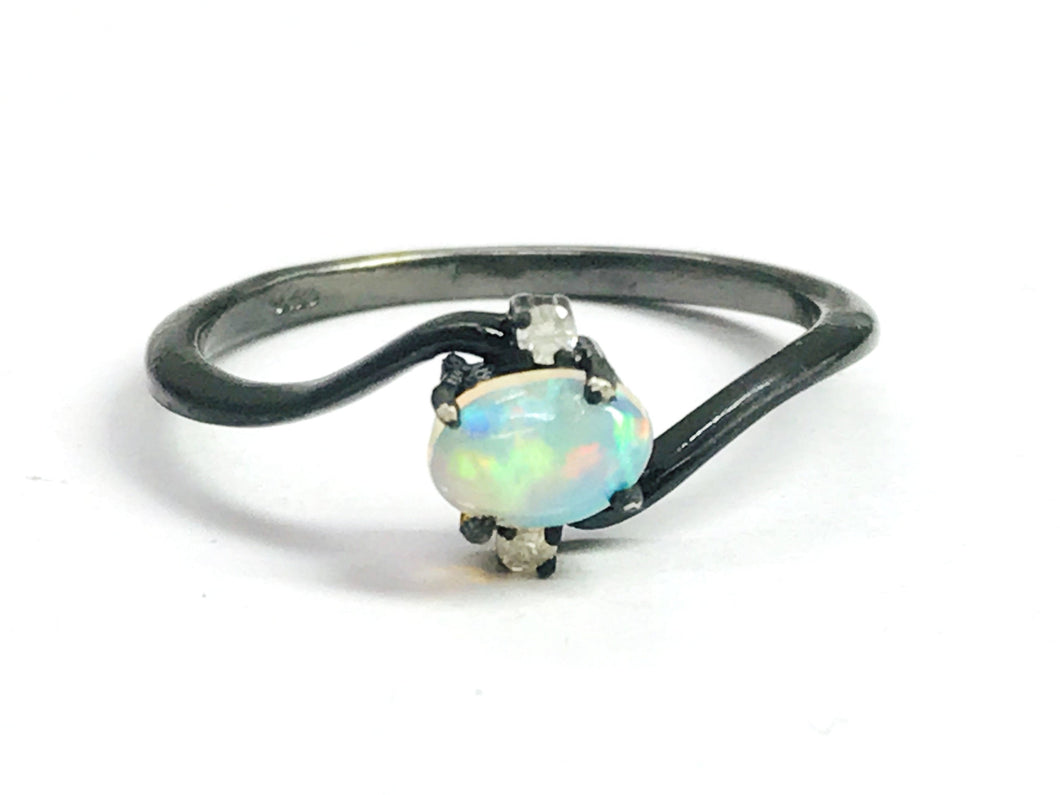 OPAL DIAMOND RING ,Fire Opal, October birthstone , Ethiopian opal , stacking ring, Oval Opal