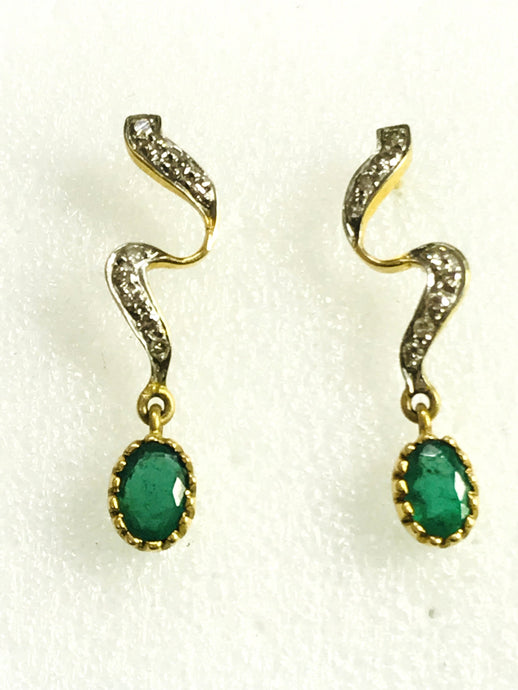 EMERALD DIAMOND Earring ,14k gold Dangle Earrings,Emerald oval ,Gift for Her ,Wedding Bridal Gift