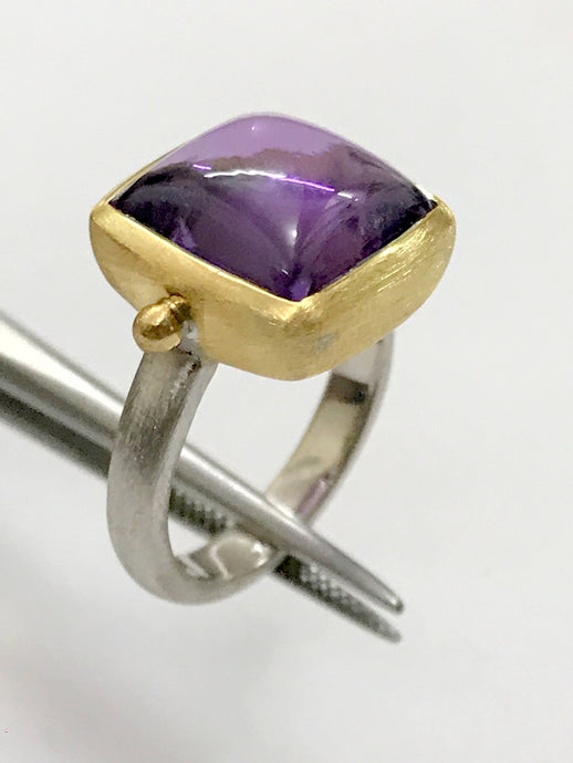 MEN RING in 925 Sterling Silver , AMETHYST Cabochon ,Square Amethyst ,February Birthstone, Unisex Ring , Gold Silver Ethnic Finish ....