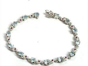 7.5 inches BLUE TOPAZ RUBY Bracelets , 925 sterling silver ,Aquamarine color ,Christmas gift ,Wedding Collection,Women Bracelets .
