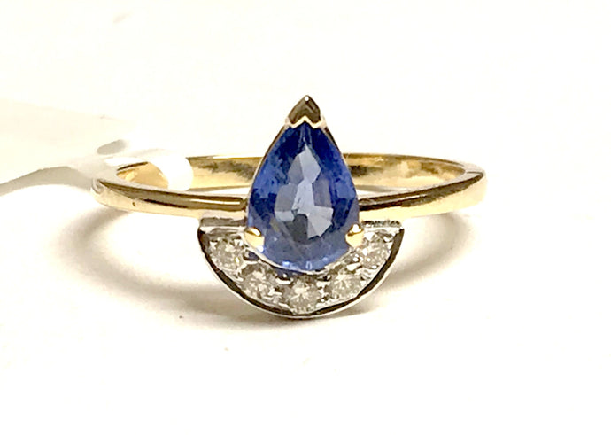 BLUE SAPPHIRE DIAMOND Engagement 14k Gold Ring,September Birthstone,Pear shape,GIFT FOR HER
