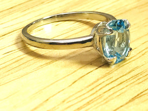 BLUE TOPAZ SILVER Ring ,Sky Color , Oval Shape Blue Topaz ,December Birthstone , Promise Ring , Hand Forged Ring , Valentine Gift...