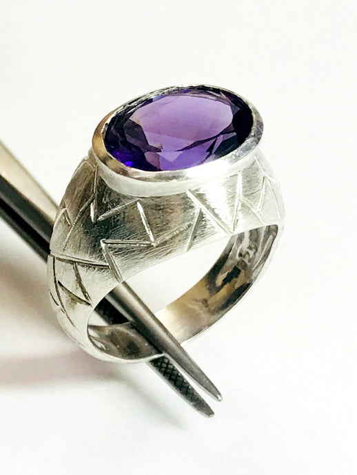 MENS RING of AMETHYST , February Birthstone , Purple Gemstone ,  Promise ring for him , Artistic Mens Jewellery ......