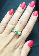 Load image into Gallery viewer, EMERALD RING,Rose Cut Diamonds ,May birthstone ,emerald engagement ring,925 Silver emerald ring, antique emerald ring ,Valentine Gift