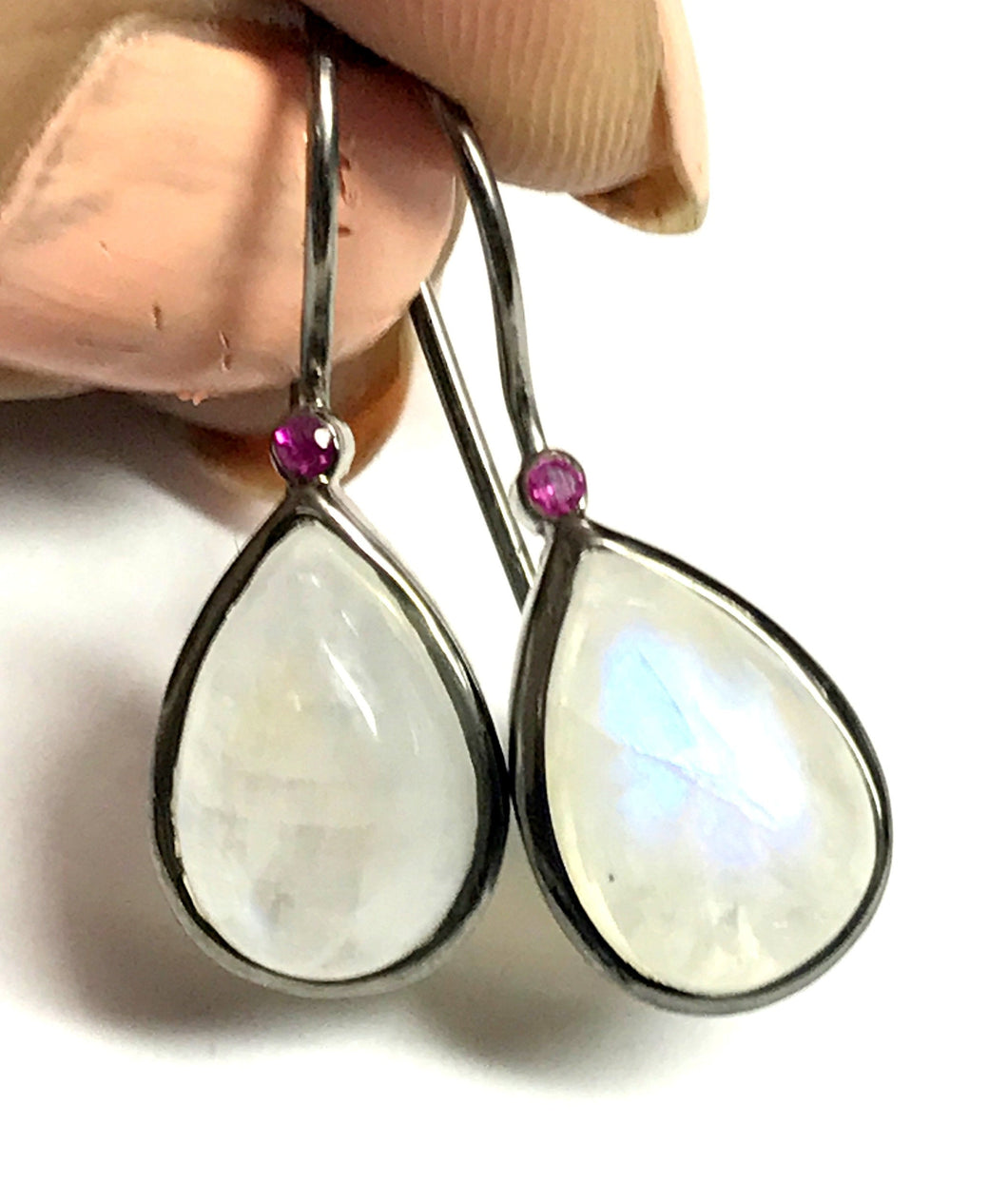 RAINBOW MOONSTONE RUBY Hoop Earring- Rainbow Drop Earring- June Birthstone Earring- Pear Shape Earrings- Cabochon Moonstone Earring