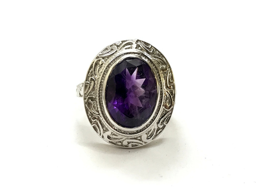 AMETHYST UNISEX RING ,925 sterling silver, February birthstone , Handmade Carving ring , Perfect for Him & Her,Cocktail Ring, Statement Ring