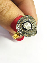 Load image into Gallery viewer, Natural ROSE CUT DIAMONDS, Antique Victorian Ring, sterling silver , Vermeil - Polki Ring ,Pave Diamonds ,Cocktail Rings ...Natural