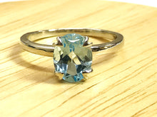 Load image into Gallery viewer, BLUE TOPAZ SILVER Ring ,Sky Color , Oval Shape Blue Topaz ,December Birthstone , Promise Ring , Hand Forged Ring , Valentine Gift...