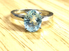 Load image into Gallery viewer, AQUAMARINE OVAL RINGS , Sterling Silver ,March birthstone , Solitaire Ring ,seawater ring,Natural aquamarine , sky blue ring, valentine gift