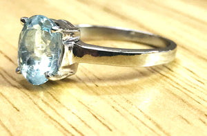 AQUAMARINE OVAL RINGS , Sterling Silver ,March birthstone , Solitaire Ring ,seawater ring,Natural aquamarine , sky blue ring, valentine gift