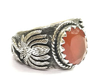 Load image into Gallery viewer, CARNELIAN UNISEX RING -925 sterling silver,oval cut Orange Embosed Jewelry